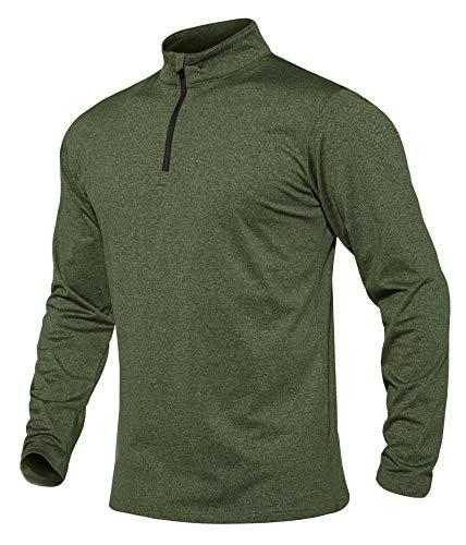 MAGCOMSEN Workout Shirts for Men Running Shirts Long Sleeve T Shirt Sweatshirts Athletic Shirts Henley Shirts Pullover Polo Shirts for Men Golf Shirts Fishing Shirts Green