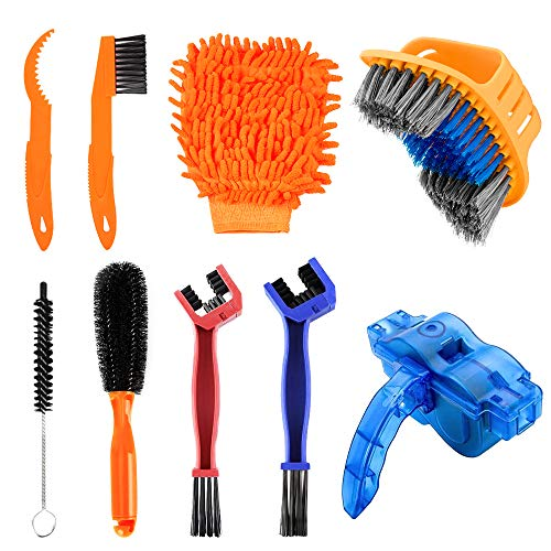 TOFAR 9PCS Bicycle Cleaning Brush Tools Set, Bike Cleaning Kits, Bike Chain Tire Cleaner with Chain Scrubber for Bike Chain, Crank, Tire, Sprocket Cycling Corner Stain Dirt Clean, Fit All Bike