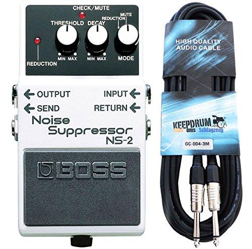 Boss NS-2 Noise Suppressor + keepdrum Gitarren-Kabel 3m