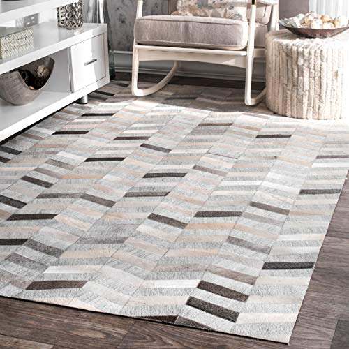 nuLOOM TXAL01A Modern Cowhide Patchwork Area Rug, 6' x 9', Silver