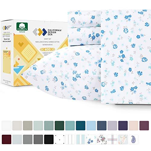 California Design Den Luxury 400-Thread-Count 100% Cotton Sheet Set - 4 Piece Blooming Meadows Full Size Bedding, Long Staple Premium Cotton Yarns Sateen Weave, Deep Pocket Fits Mattress 16 Inches