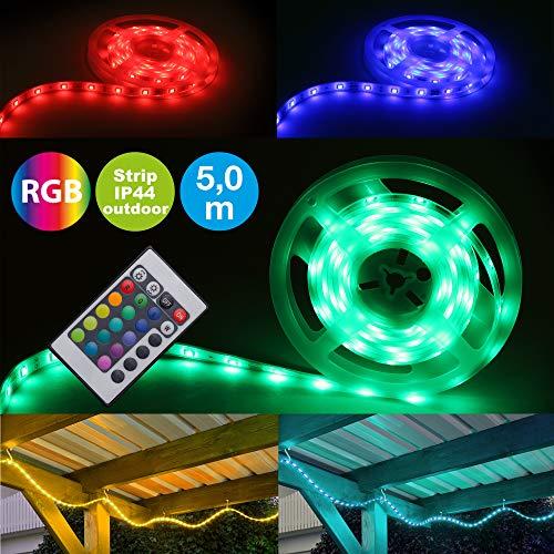 Briloner Leuchten – LED Band 5m, außen, dimmbar, RGB, IP44 spritzwassergeschützt, LED Streifen 150xRGB-LED/0,16W
