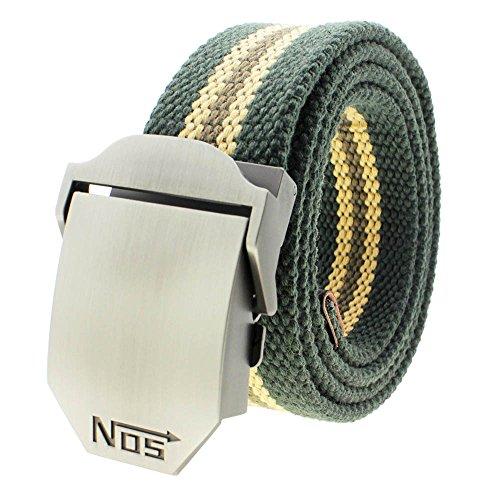 VANKER Nuevo Pretina de las correas de lona hebilla automática cinturón de cintura para hombres mujeres -- rayas de verde del ejército