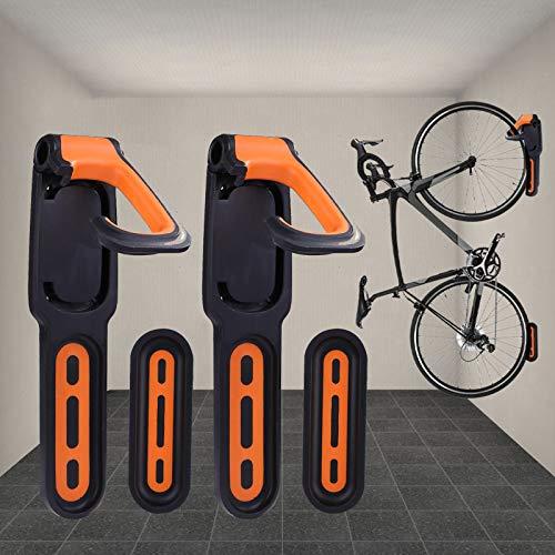 BESTINE Soporte para Bicicletas Montado en la Pared, 2 Soportes Verticales para Bicicletas Recubiertos de Goma, Gancho Organizador para Colgar Ciclos de Alta Tesistencia con Tornillos (Yellow)