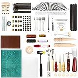 RAIN QUEEN Leder Werkzeug Set Handnahmewerkzeug DIY Nähset Nähen Werkzeug Schneidematte Druckknäpfe Nähahle Ledernadeln Leder Schnitzwerkzeuge Holzschnitzen Hammer (75 Stück, A#)