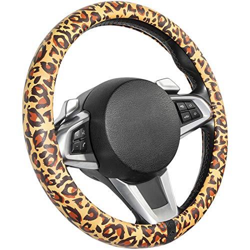 COFIT Cubierta de Volante de Cuero de Microfibra para Mujer, Funda Protectora Antideslizante para Volante de Coche, Vehículos Universales de 37-39cm, Estampado de Leopardo Negro Dorado