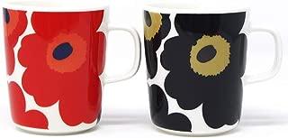 マリメッコ UNIKKO(ウニッコ)マグカップ/赤、黒 セット