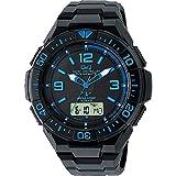 [シチズン Q&Q] 腕時計 アナログ 電波 ソーラー 防水 日付 ウレタンベルト MD06-335 メンズ ブラック × ブルー
