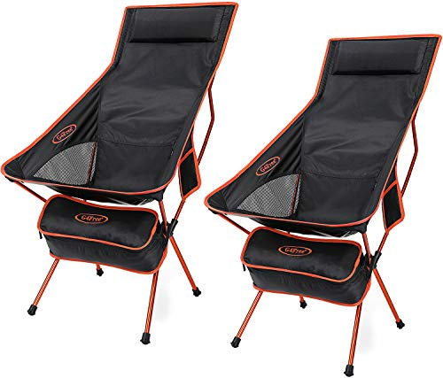 G4Free Upgraded Outdoor 2 Pack Camping Chair Portable Lightweight Folding Camp Chairs with Headrest amp Pocket High Back High Legs for Outdoor Backpacking Hiking Travel Picnic Festival Orange