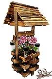 BLIZNIAKI Dekorative Holzbrunnen 37x39x79cm mit 4 solar LAMPLE (Glanz nachts) 79cm Zierbrunnen fur den Garten mit Topf Blumenständer aus Holz Gartenbrunnen SC1 Opal SOLAR