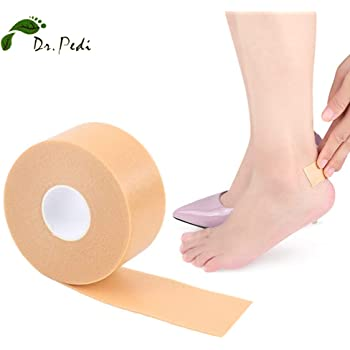 Dr.Pedi Heel Sticker Tape Breathable Bandage Roll Blister Protector Waterproof Anti-Slip Adhesive Support Padding Foam Strips Hand Foot Bandage for Calluses Tender Spots Shoe Friction 1 Pack