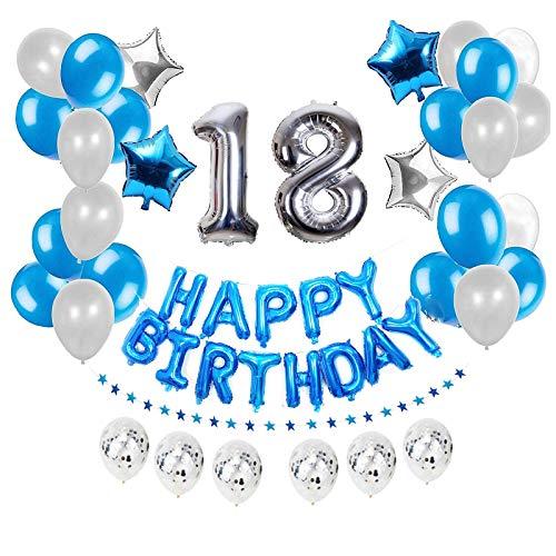 """JinSu 18 Anni Compleanno Decorazioni per Uomo Adulti, 50 PCS Compleanno Palloncini con Argento Pallone Numero 18"""", Bandiera Happy Birthday, Palloncino in Foil a Stella, Palloncini in Lattice (Blu)"""