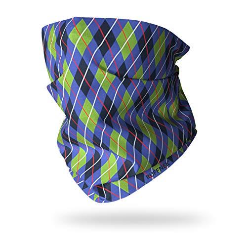 Ruffnek Losanges Bleu/Vert / Noir Multifonction Chauffe Cou pour Homme, Femme & Enfants - Golf Cache-Cou, Cravate, Bandeau, Cyclisme, Course, Marche,