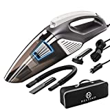 Helteko Car Vacuum Cleaner Corded DC 12V - High Power Compact Hand Vacuum Cleaner with Stainless Steel HEPA Filter and LED Light - 120W Car Vac with 3 Accessories and Carrying Bag for Car Use Only