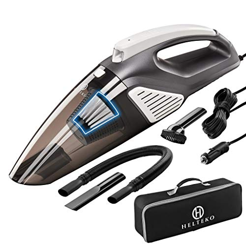 Helteko Car Vacuum Cleaner Corded DC 12V - High Power Compact Hand Vacuum Cleaner with Stainless...