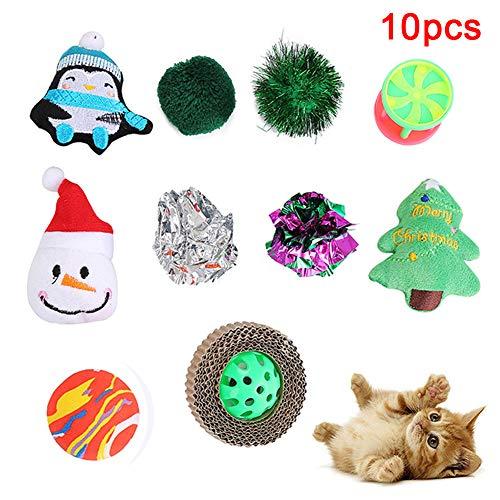 Danigrefinb Interactief Speelgoed voor Huisdier Katten Kitten 10 Stks Kerst Geluid Papier Bal Sneeuwman Boom Bijt Speelgoed, 10pcs, Willekeurige kleur