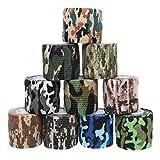Cintas de camuflaje de Sicai, 10 rollos de cinta autoadhesiva de papel 10 estilos
