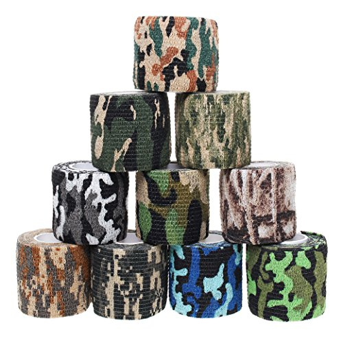 10 Rollen Camouflage Tapes, Sicai Selbstklebende Vlies-Tapes, Outdoor Camouflage Tapes, 10 Stile