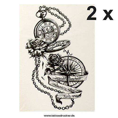 2 x Kompass Uhr XL Tattoo in schwarz - Fake temporäres einmal Körpertattoo HB881 (2)