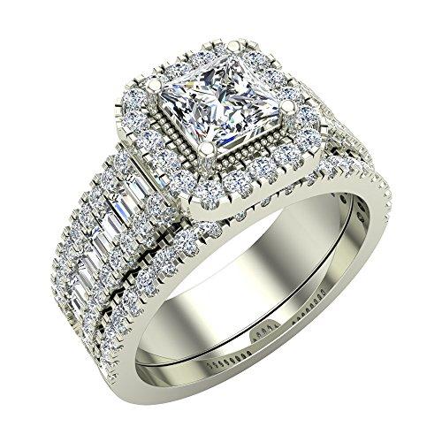 Princess Cut Diamond Cushion Halo Wedding Ring Set 1.60 carat total weight 14K White Gold (Ring Size 4.5)