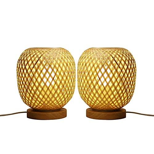 Lámpara De Mesa Tejida De Bambú Lámpara De Noche Con Decoración De Estilo Del Sudeste Asiático, Lámpara De Escritorio Para El Hogar Con Pantalla De Bambú Tejida, Dormitorio Rural, Sala De Tatami