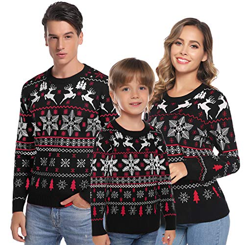 Hawiton Family Matching Ugly Xmas Sweaters Long Sleeve Christmas Reindeer Sweater Festive Pullover (Black-Kids, 12)