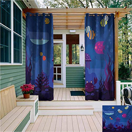 Cartoon All Season Insulation Outdoor Patio Curtain Underwater World Fish in Aquarium and Whale Crabs Jellyfish Bubbles Coral Home Fashion Machine Washable W108 x L96 Inch Blue and Multicolor