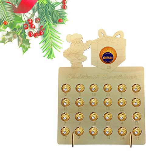 CHENGBEI Kerstman Houten Kerst Adventskalender Holle Countdown DIY Chocolade Stand