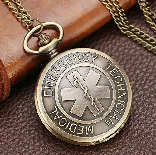 LOOIUEX Reloj de Bolsillo Antiguo EMT diseño de Cuarzo Completo Hunter Collar de técnico médico de Emergencia Cadena Enfermera Doctor Reloj de Bolsillo Mejores Regalos