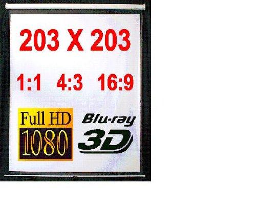 Melko Rolloleinwand für Beamer, Rollo, Heimkino, Büro, Projektoren, 203 x 203 cm, 113,7 Zoll - Ideal für HD-TV