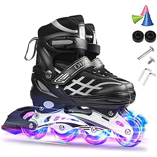 Inline Skates für Kinder/Jungen/Mädchen Einstellbare Rollschuhe mit Leucht PU Räder Inlineskates Rollerblades, Anfänger Rollerskates für Mädchen/Jungen- 7 Lager | Schnell und Leise