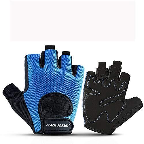 Gants D'entraînement Sportif Fitness Gants antidérapants levage de poids Équipement Palm équitation Gants Sport doigt à moitié Pull Ups Kettlebells Deadlifts ( Couleur : Blue , Size : S )