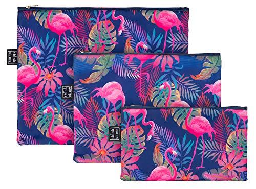 Reißverschlusstaschen für Reiseutensilien – Koffer Organizer Taschen Set 3-teilig - Kulturtasche Kosmetiktasche für Damen und Mädchen – Kleine Makeup Schminktasche (Flamingo)