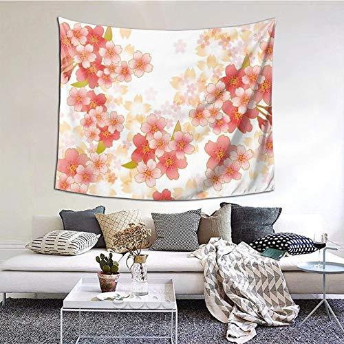 kThrones Tapiz de Pared,Japanese Sakura Flowers Cherry Blossoms In Vibrant Colors Tapestry (Colgante de Pared) Decoración de Pared Mural del hogar para Dormitorio Sala de Estar 152cmx102cm