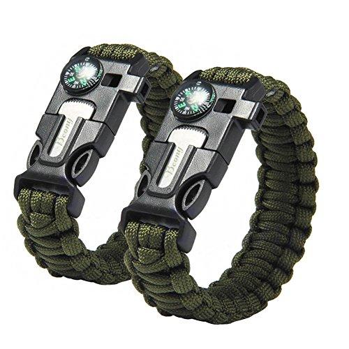 KIWISUNNY Verde Braccialetto Paracord Sopravvivenza corda con fischietto, pietra focaia raschietto avviamento di fuoco,2 pezzi