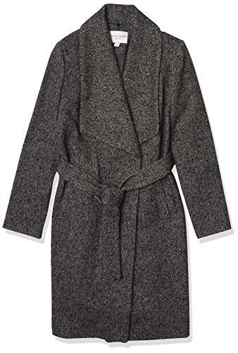 Cole Haan Women's Belted Asymmetrical Wool Coat, Charcoal, 4