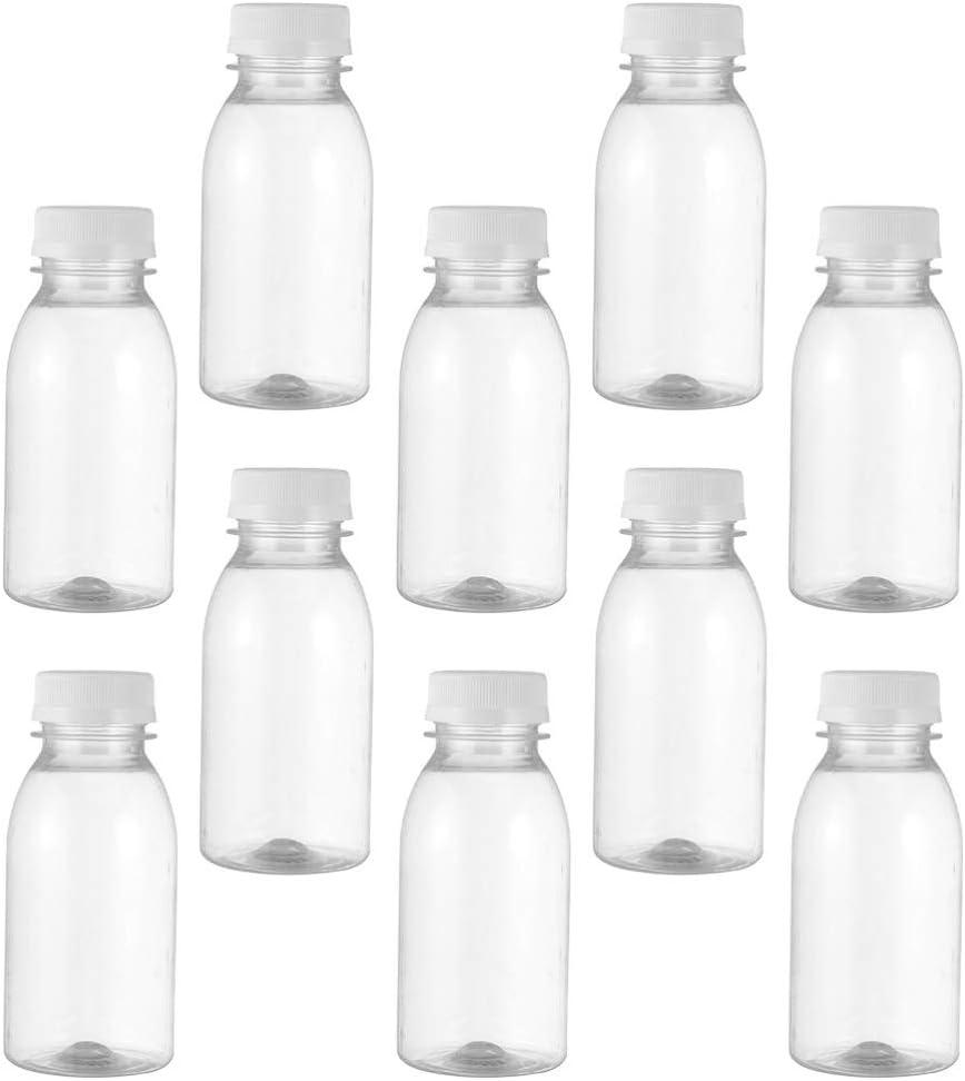 Angoily 10 Unidades de Botellas de Leche de Plástico Vacías de 200Ml con Tapas de Bebida de Jugo Transparente Contenedor de Almacenamiento Transparente