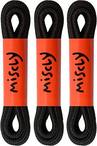 Miscly – Schnürsenkel Rund, Reißfest [3 Paar] für Sportschuhe, Sneaker und Stiefel – 100% Polyester - Ø 4 mm (114 cm, Schwarz)