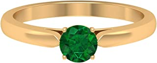 Anillo de compromiso de oro de 10 quilates con esmeralda de laboratorio redondo de 5 mm (calidad AAAA).
