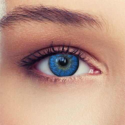 2 Blaue Kontaktlinsen mit Stärke ozeanblaue natürlich wirkende Drei Monatslinsen, gut deckende Farbe + Gratis Behälter