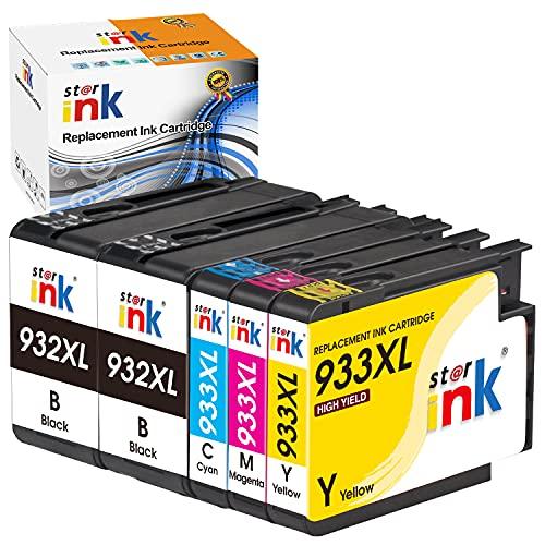 St@r ink 932XL 933XL Cartucce d'inchiostro Compatibile per HP 932 933 932XL 933XL Cartucce d'inchiostro per HP Officejet 6600 6700 6100 7510 7610 7612 7110 (2 Nero, 1 Ciano, 1 Magenta, 1 Giallo)