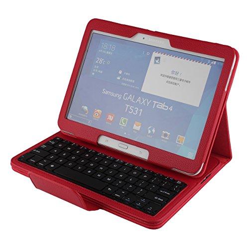 J&H - Funda Tipo Libro para Samsung Galaxy Tab 4 10.1 (Piel sintética, Teclado inalámbrico con Bluetooth para Samsung Galaxy Tab 4 10.1 de 10,1