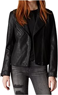 womens Luxury Clothing Semi Fitted Vegan Leather Motorcycle Jacket