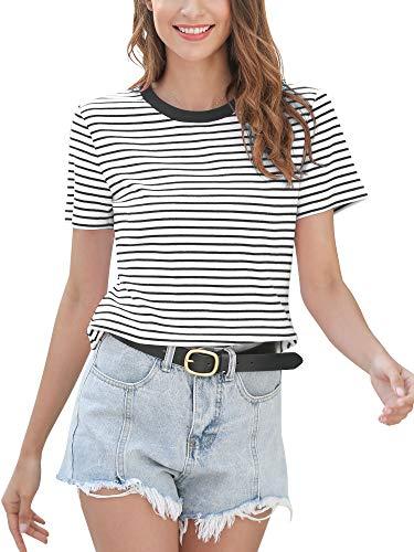 MessBebe damska koszulka w paski topy damskie koszulki z krótkim rękawem tunika bawełna lato na co dzień okrągły dekolt koszulka podstawowe miękkie sportowe bluzki