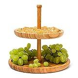Relaxdays Etagere Bambus H: 25 cm D: 25 cm 2-stöckige Obstetagere aus Holz mit 2 runden Schalen zur Ablage von Gebäck, Kekse, Party-Snacks, Nüsse, Süßigkeiten als Obstteller und...
