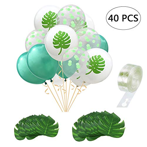 Yuccer Decoracion Fiesta Tropical, Decoracion Fiesta Hawaiana 15 PCS Globos Latex con 1 PCS Cinta para Globos 24 PCS Hoja de Palma Artificial