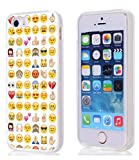 Case for Phone SE & Cover for 5S & MUQR Replacement Skin Rubber Gel Silicone Slim Drop Proof Protection Protector Compatible with iPhone 5S/5/SE & Funny Personalized Emoji Pattern