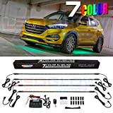 LEDGlow 4pc Multi-Color Slimline LED Underbody Underglow Accent Neon Lighting Kit for Cars - 7 Solid Colors -...