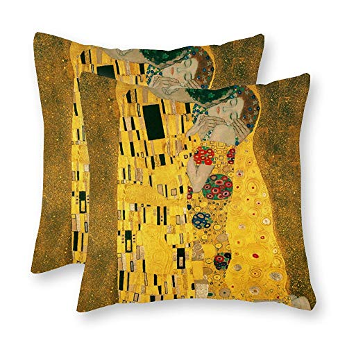 Yilooom Pack Of 2 Decorative The Kiss Klimt Canvas Square Throw Pillow Covers Set Cushion Case For Sofa Bedroom Car 18 X 18 Inch 45 X 45 cm
