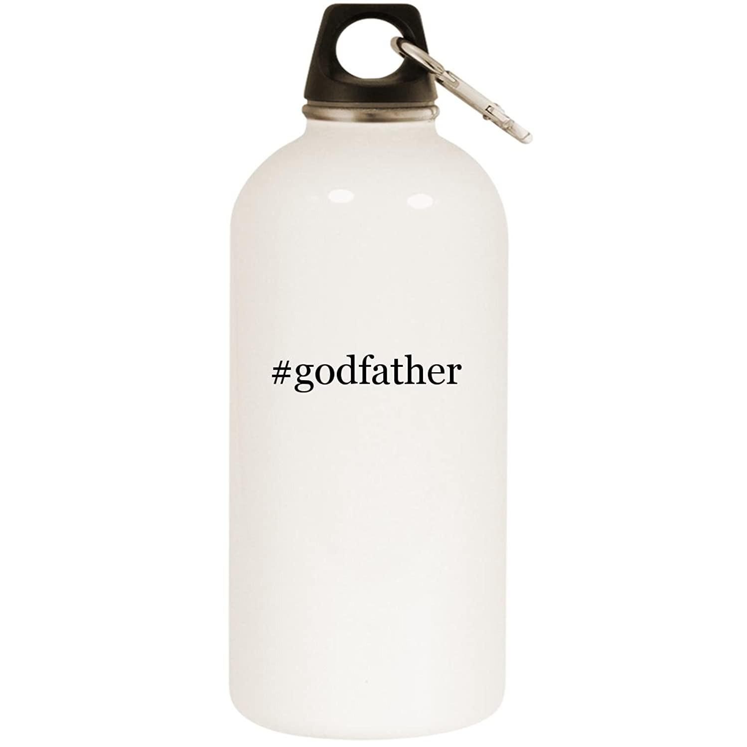 Molandra Products #Godfather - White Hashtag 20oz Stainless Steel Water Bottle with Carabiner